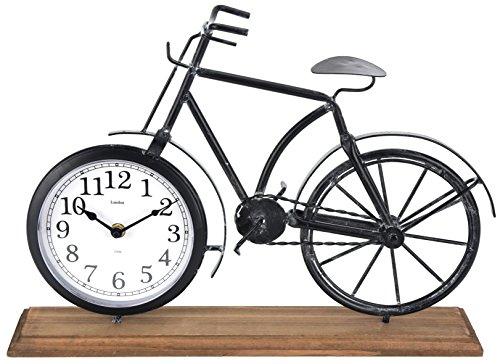 Uhr Fahrrad Tischuhr 41x29 cm Metall Holz Standuhr schwarz vintage Fahrraduhr