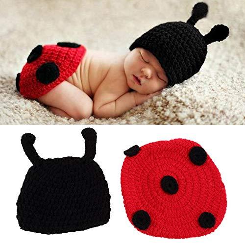 Wenwenzui-ES Neugeborenes Baby häkeln Stricken Foto Fotografie Prop Kostüm Hut Mützen Outfit schwarz & rot
