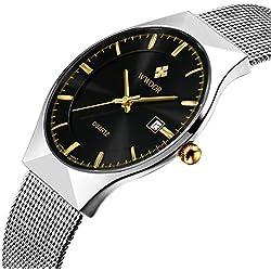 Affute Fashion Mens Watch Mesh Band Japanese Analog Quartz Movt Thin Dial Date Wrist Watches,Black