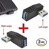 Kimilar 2-tlg USB 3,0 Adapter rechtwinklig und linken Winkel-Stecker/Buchse USB Connector-Extender Stecker Kupplung 2ST (einschließlich der linken und rechten Winkel-Adapter)