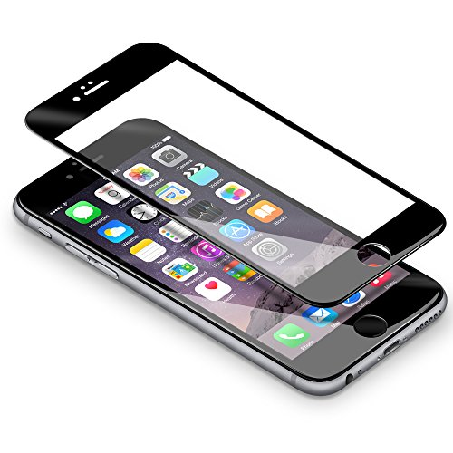"iPhone 6s 6 Schutzfolie, Coolreall® Full Screen Curved Panzerglas für iPhone 6s 6 4,7"", [9H Härtegrad, 3D-Touch kompatibel] (Schwarz)"