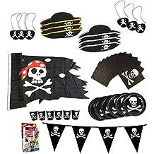 COM-FOUR® Piraten-Geburtstagsfeier-Set für bis zu 6 Kinder - Piratenhut, Augenklappe, Wimpelkette, Flagge, Teller, Becher, Servietten, Pflaster
