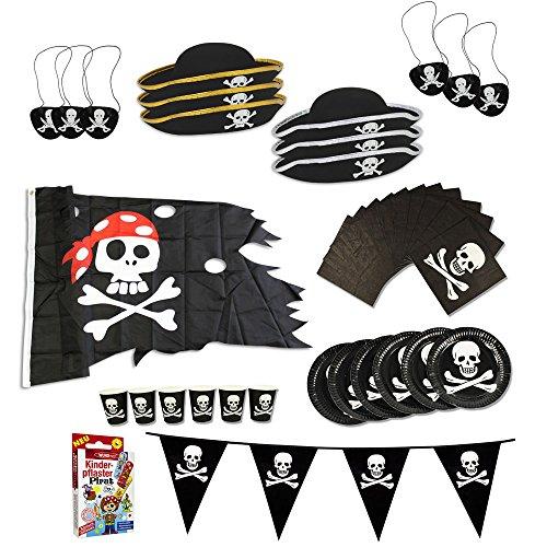 com-four® Piraten-Geburtstagsfeier-Set für bis zu 6 Kinder - Piratenhut, Augenklappe, Wimpelkette, Flagge, Teller, Becher, Servietten, Pflaster (39-teilig)