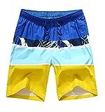 Honeystore Herren Freizeit Shorts Casual Mode Urlaub Strand-Shorts Mosaik-Farbe Sommerhose Rötlich-Blau Himmelblau und Gelb XL