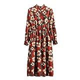 OSYARD Robe Longue Femme, Robe de Velours Longue décontractée Classique col Montant Manchon Papillon Chemise à Fleurs Robe de soirée et Fille silencieuse