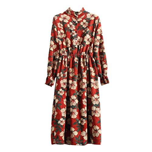 OSYARD Robe Longue Femme, Robe de Velours Longue décontractée Classique col Montant Manchon Papillon Chemise à Fleurs Robe de soirée et Fille silencieus