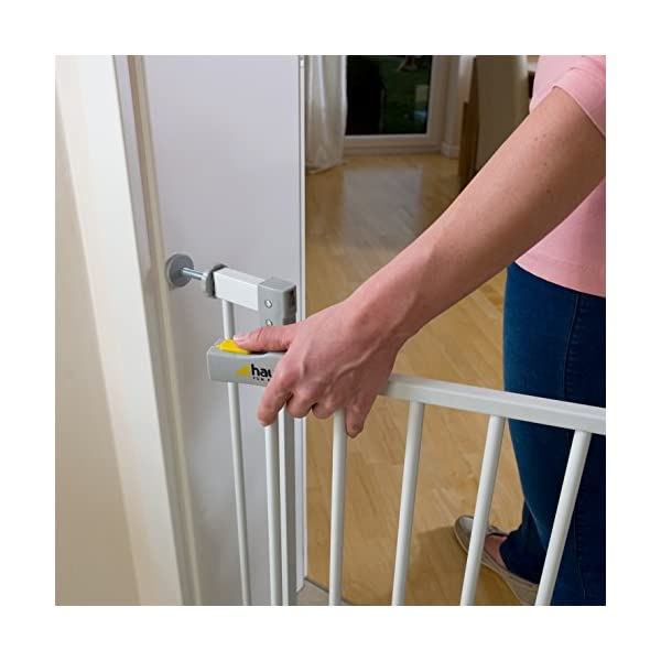 Hauck Open N Stop stair gate including 21 cm extension, gate guard for children, 96 - 101 cm, without drilling, White Hauck Easy to fix Locking mechanism for double safety Opens to both sides 3