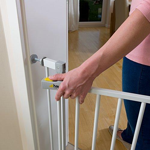 Hauck 597026 Open N Stop Treppen-/Tür- schutzgitter für Kinder, Hunde und Katzen, Befestigung ohne Bohren, zum Klemmen, mit Tür, verstellbar und erweiterbar bis 123 cm, 75-81 cm, weiß/grau - 3