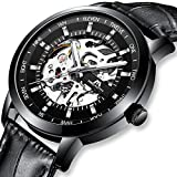 Mens Watches Men Mechanical Automatic Military Waterproof Luxury Black Designer Steampunk Skeleton Leather