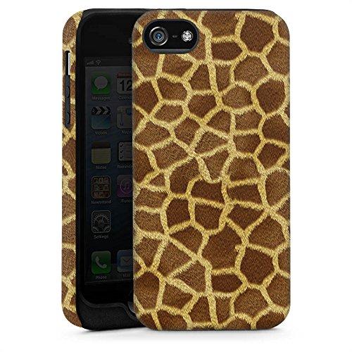 Apple iPhone 5s Housse Étui Protection Coque Look girafe Fourrure Animaux Cas Tough brillant