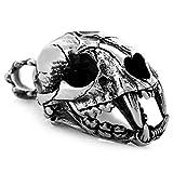 mendino Herren Vintage Große Dinosaurier Skull Edelstahl Tribal Halskette Anhänger mit 55,9cm Zoll Kette