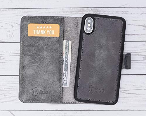 FREDO iPhone X/XS Hülle Leder Abnehmbare 2 in 1 Handyhülle inkl. Kartenfächer für Apple iPhoneX/XS Handytasche/Cases mit Magnet/Hand Made in Europe (Steingrau Burned) -