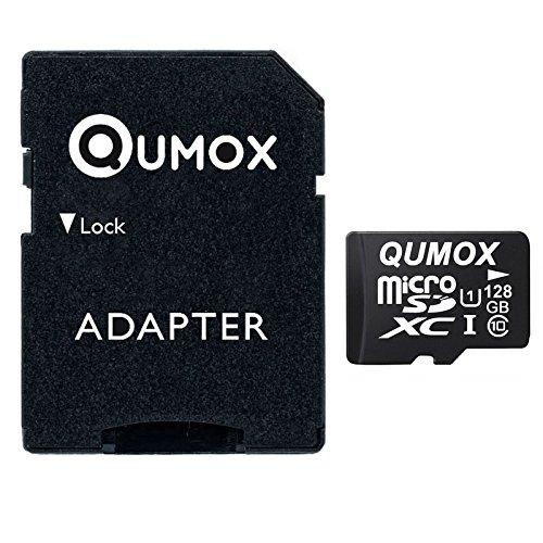 QUMOX Speicherkarte MicroSDXC 128GB UHS-I Grade 1 Class 10 mit SD Adapter für Smartphones und Tablets