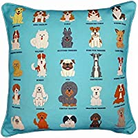 "Royal Dog Breeds Design Cushion Cover. 17"" X 17"", Handcrafted Pillowcase (Turquoise), Soft Cotton, Gift for Mum, Dad, Brother, Sister, Home Decor Pillow, Children's Nursery Cushion, Dog Lover Gift"