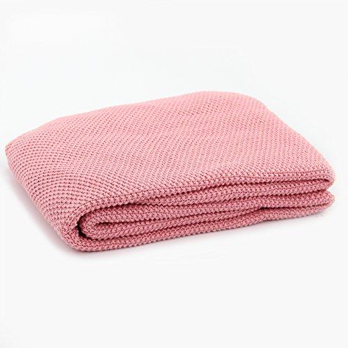 DrCosy 100% Baumwolle Decke Thermische Gestrickte Decke Sofa Throw Gestrickte Tagesdecke Soft Bettdecke Gemütliche Warme Couch Abdeckung Reise Rest Decken 85cmx140cm