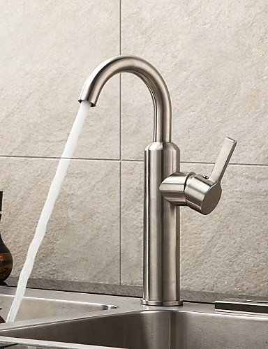 AI LI WEI Bathroom Furniture - Brushed Chrome Finish Contemporary Stainless Steel Kitchen Faucet