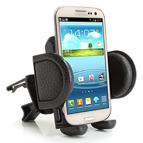 Car Air Vent Mobile Phone Mount Holder Cradle with 360 Degree Rotating Neck & Adjustable Clamps by USA Gear - Works with Apple iPhone 7 Plus , Samsung Galaxy S7 Edge , Google Pixel , HTC 10 ...& More Phones
