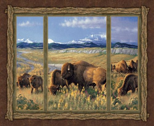 buffalos-wall-hanging-quilting-panels-cotton-fabric-wild-wings-bison-range