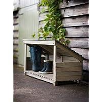 Outdoor Garden Rustic Wooden Wellie Boot Shoe Storage Parcel Shelf