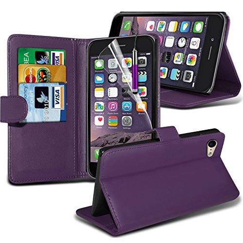 i-Tronixs High Quality Designed Premium-PU-Leder Geldbörse Book Flip Mit 3 Kredit / Bankkarte Slot-Kasten-Haut-Abdeckung mit LCD-Display Schutzfolie und Poliertuch für Apple Iphone 6 4.7 inch WFLIP Purple + Pen
