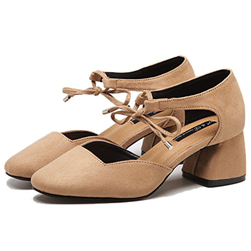 Oasap Women's Square Toe Ankle Strap Block Heels Pumps Kaki