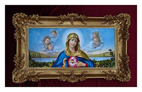 Barock Gemälde Bild mit Rahmen Repro Antik Look Heilige Maria Mutter Gottes Magdelena 96x57cm (Gold)