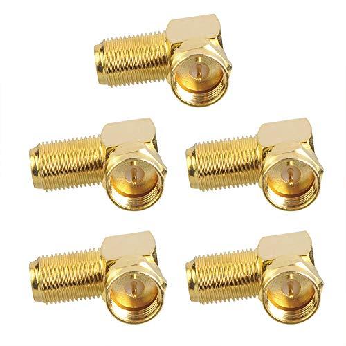 VCE 5 Stück F Stecker Winkel Sat Adapter F Winkelstecker Winkeladapter 90 Grad Sat Adapter für Antennenkabel, Satellitenkabel, Koaxialkabel, Vergoldet -