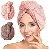 Invool 2 Pack Microfiber Hair Drying Towels,Head Wrap Towel, Super Absorbent Hair Towel Turban with Button Design to Dry Hair Quickly,Pink & Coffee