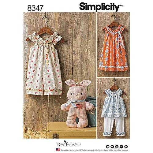 Simplicity Schnittmuster 8347A (1/2–1-2–3-4) Kleinkind 'Kleid, Top und Knit Capris, und gefüllt, weiß (Knit Pants Capri)