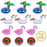 Meland Inflatable Drink Holder, 12 Pack Inflatable Cup Coasters for Kids Adults Swimming Pool Party & Beach Toys with 4 Different Float Design Including Palm Tree, Unicorn, Flamingo and Watermelon
