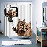 Monsiter Cortina de ducha con Creative Gato impresión máquina lavable respetuoso con el medio ambiente resistente al agua y Mildewproof antibacteriano tela de poliéster con ganchos (72* 72cm/180* 180cm)