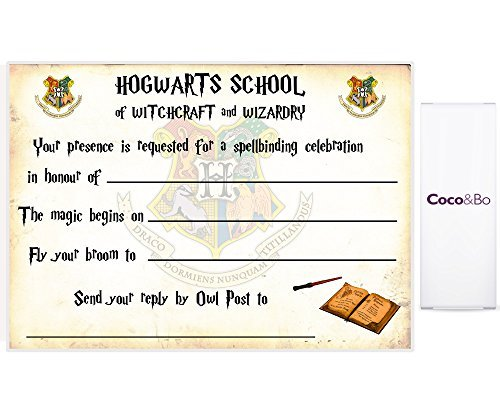 5 x Coco&Bo - Magical Wizarding Hogwarts School Party Invitations with Envelopes - Harry Potter Theme Party Decorations / Accessories by Coco & Bo