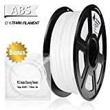 3D Filament, ABS 3D Printer Filament 1.75mm, 1KG Spool(2.2lbs),3D Printing Filament Dimensional Accuracy +/- 0.02mm- NO Clogging(White)