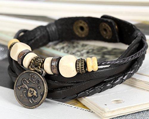 Flongo Alliage Leather Cuir Bracelet Perle Bois Douze Constellation Signe Astrologique Zodiaque Zodiac Tressé Réglable Noir Tribal Homme,Femme Lion