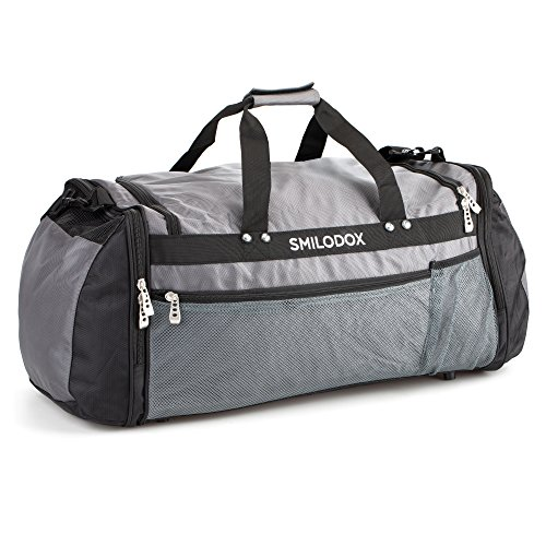 SMILODOX Sporttasche CLASSIC Strickerei mit großem RV- Hauptfach + Schultergurt Anthrazit