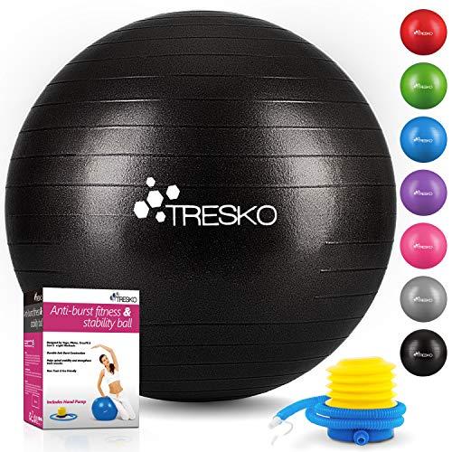 TRESKO® Anti-Burst Gymnastikball 55cm 65cm 75cm 85cm   Sitzball   Yogaball   300 kg   mit Luftpumpe (Schwarz, 55cm (geeignet für 155cm oder weniger))