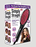 #8: Simply Straight Ceramic Hair Straightening Brush, Black/Pink