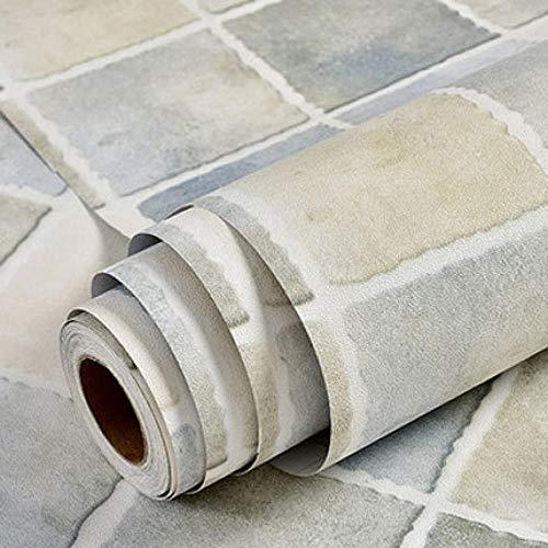 ACCEY rollo vinilo adhesivo Mosaik-Küchen-Tapeten Wasserdichte selbstklebende Vinyltapetenrolle für Küchenwände Decoration@island_Blue_1.35