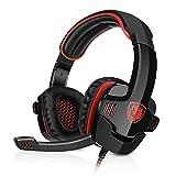 Sades SA-901 7.1CH Surround Sound Stereo Headset PC Gaming Kopfhörer mit USB-Stecker und Mikrofon Rot+Schwarz