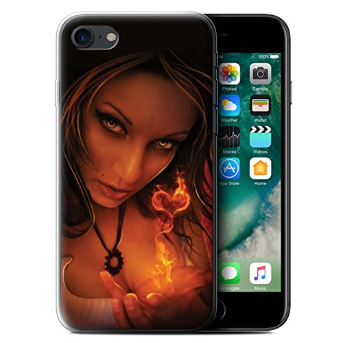 Officiel Elena Dudina Coque / Etui Gel TPU pour Apple iPhone 7 / Distraits Design / Art Amour Collection Coeur flamboyant