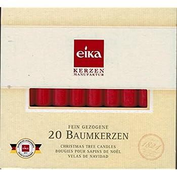 10,5 x 1,25 cm /Ø Rot 20er Pack Eika-Baumkerzen
