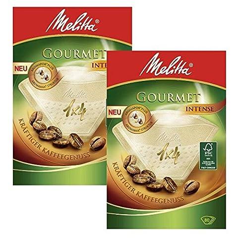Melitta 2 boîtes de taille 1 x 4 Filtres Café Gourmand Intense Lot de 80