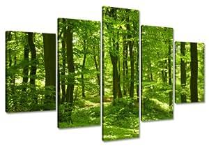 Visario 6411 Lot de 5 panneaux décoratifs en lin imprimés, motif forêt, sur cadre, 100 cm