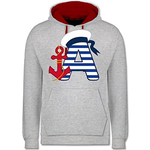 Anfangsbuchstaben - A Schifffahrt - Kontrast Hoodie Grau Meliert/Rot