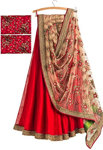 Fabmaza Woman's Banglori Silk Semi stitched lehenga Choli For Woman Party Wear Navrati Special Gown (Fab172L_Red_Free Size)