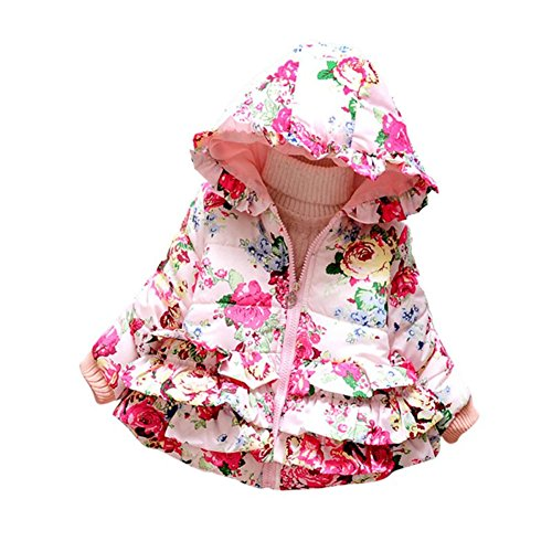 ESHOO Winter Toddler Girls Cotton Coat Baby Kid Butterfly Jacket Outwear 0-24M