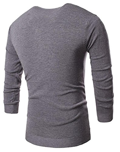 Jeansian Hommes Mode Pull Casual Manches Longues Knitted Men's Fashion V-Neck Long Sleeves Shirts Slim Fit Tops 88A1 gray
