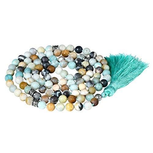 Matte gemstone collana di perline mala, mala braccialetto, mala rosario collana, annodati collana/bracciale (matte amazzonite)