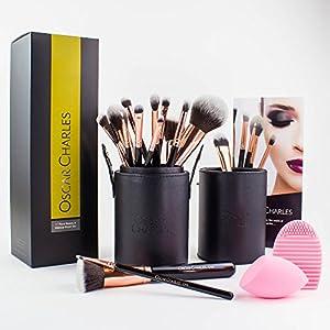 Oscar Charles Makeup Brush Set, 17 Piece Beauty & Make up Brushes, Powder Brush, Flat Top Kabuki, Face and Eye Shadow Brushes, in a Stylish Brush Case, Presented in a Beautiful Gift Box