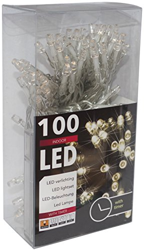 HiT 100er LED-Lichterkette Batteriebetrieb warmweiss + Timer Transparentes Kabel (20027)